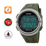 ราคา ราคาถูกที่สุด Skmei Unisex Pedometer Heart Rate Monitor Calories Counter Digital Watch Fitness Outdoor Waterproof Wristwatches Sports Watches Army Green Intl