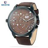 ซื้อ Skone 6164Eg Male Dual Quartz Watch Leather Band Working Sub Dial Date Luminous Dsiplay Wristwatch Intl ออนไลน์
