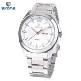 ขาย Skone 7381Ag ตัวผู้แสดงผลนาฬิกาควอทซ์ Movt วันที่วันนาฬิกาข้อมือนำเข้าสายสเตนเลส ขาว ถูก ใน Thailand