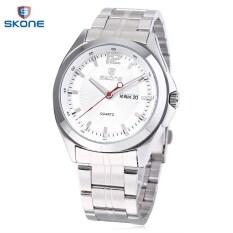 ขาย Skone 7381Ag ตัวผู้แสดงผลนาฬิกาควอทซ์ Movt วันที่วันนาฬิกาข้อมือนำเข้าสายสเตนเลส ขาว ใหม่