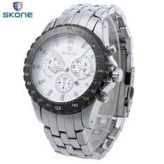 ซื้อ Skone 7389Bg Male Quartz Watch Three Sub Dials Date Luminous Display Wristwatch ถูก