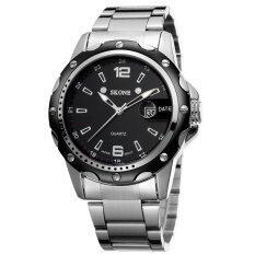 ราคา Skone Watches Men Stainless Steel Quartz Watch Man Clock Complete Calendar Round Casual Wristwatch สมุทรปราการ