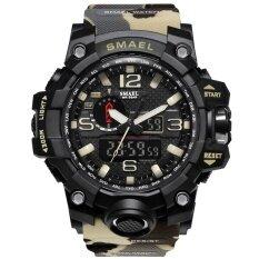 ราคา Smael Brand Men Watch นาฬิกาข้อมือ Dual Time Camouflage Military Watch นาฬิกาข้อมือ Digital Watch นาฬิกาข้อมือ Led Wristwatch นาฬิกาข้อมือ 50M Waterproof Sport Watch นาฬิกาข้อมือ Men Clock 1545B ใหม่