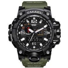 นาฬิกาแบรนด์เนม Smael นาฬิกาผู้ชายกีฬานาฬิกาคู่แสดงอนาล็อกดิจิตอลนาฬิกาควอตซ์อิเล็กทรอนิกส์กันน้ำว่ายน้ำนาฬิกา - นานาชาติ.