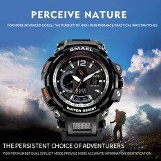Smael Multi - Functional Dual แสดงผลนาฬิกากีฬากันน้ำนาฬิกาข้อมืออิเล็กทรอนิกส์ (สีดำสีขาว) - Intl.