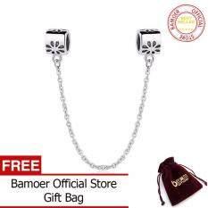 ขาย Special Gift 925 Authentic Silver Flower Daisy Safety Chain Charm Fit Bracelet Necklace Jewelry Accessories Pas204 Bamoer ออนไลน์