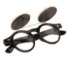 ซื้อ แว่นตาแว่นสตีมพังก์ผีดิบขึ้นมาดีดเรโทรแว่นตากันแดดสีดำ ใหม่