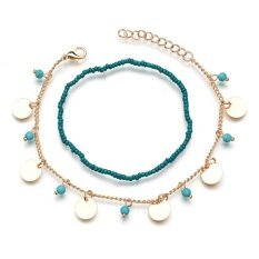 Stylish Bohemian Blue Turquoise Beaded Anklet Foot Chain Charm Foot Jewelry Gold