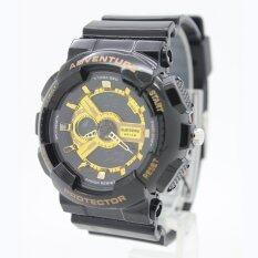 ราคา Submariner นาฬิกาข้อมือผู้หญิงและเด็ก สายยาง 2 ระบบ เข็มและDigital Ss20036 Black Gold