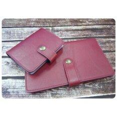 ราคา Sunitara เซตคู่กระเป๋าใส่สมุดบัญชีฯ และกระเป๋านามบัตร หนังกึ่งเงา สีแดงเลือดนก เป็นต้นฉบับ Sunitara