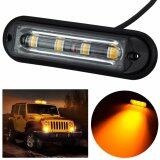 ราคา Super Bright 4 Led Waterproof Car Truck Strobe Emergency Warning Flash Light Drl Dc 12V 24V Amber Automobiles Lamps Intl Henefune
