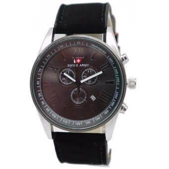 Swiss Army นาฬิกาข้อมือผู้ชาย ดูวันที่ได้ หน้าปัดดีไซน์ NAVY สายหนังสีดำ รุ่น ZD-0121 สีดำ (Black)