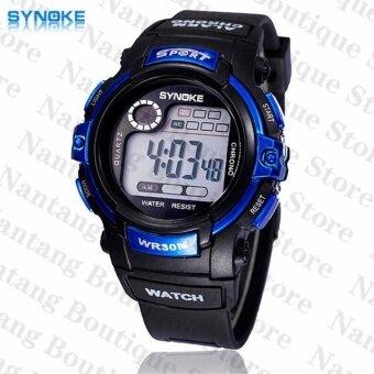 Synoke 99569 รัดกันน้ำแข็งแรงปู 30แผ่นนาฬิกาข้อมือนาฬิกานักกีฬาสีน้ำเงิน