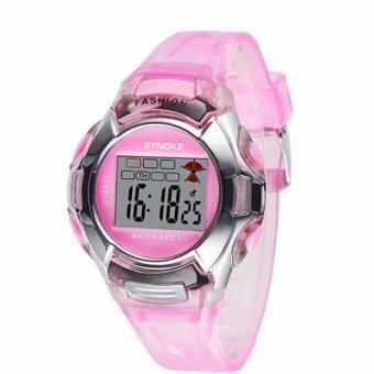 SYNOKE Children LED Digital Watch Girls Wrist Watch Kids Watches Boys Clock Child Sport Digital-watch for Girl Boy Surprise Gift(Pink) - intl