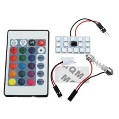 ทบทวน T10 5050 Smd 16 Colors Rgb Led Panel Car Auto Interior Reading Map Lamp Bulb Light Dome Festoon Remote Controller Flash Strobe 15 Smd Intl Unbranded Generic