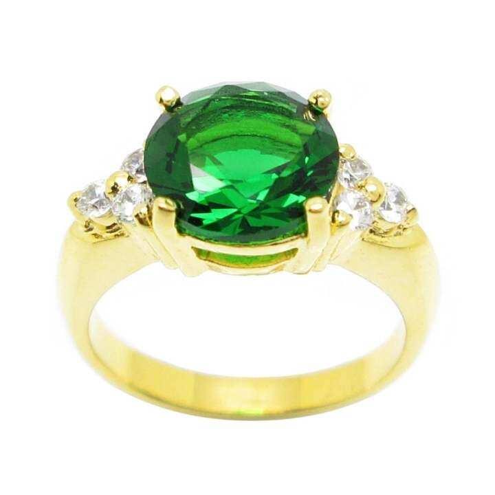 เพชรมรกต: TanGems แหวนพลอยมรกตประดับเพชร รุ่น 2389 (ทอง/มรกต/เพชร