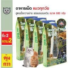 Taste Of The Wild อาหารแมว สูตรเนื้อกวางย่างและปลาแซลมอนรมควัน โปรตีนสูง สำหรับแมวทุกวัย ทุกสายพันธุ์ ขนาด 680 กรัม (ซื้อ 2 แถม 2)