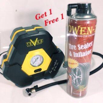 Tevez air compressor HIGH POWER ปั๊มลมยาง หน้าปัดเข็ม 120W 300 PSI ฟรี ที่ประยาง 1 กระป๋อง