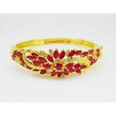 ส่วนลด Thai Jewelry กำไล ข้อมือ ผู้หญิง พลอยทับทิม แดง เพชรสวิส งานชุบทองไมครอน ชุบเศษทองคำแท้ 96 5 ทองหุ้ม ทองชุบ
