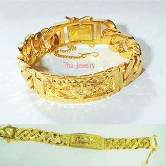Thai Jewelry สร้อยข้อมือทองคำ เลส ลายดอกไม้ งานทองไมครอน ชุบด้วยเศษทองคำแท้ 96.5 % น้ำหนัก 5 บาท ความยาว 7.5, 8.5 นิ้ว เครื่องประดับ ทองชุบ ทองหุ้ม ทองโคลนนิ่งผู้ชาย ผู้หญิง-