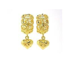 Thai Jewelry ต่างหูทอง ฉลุ ห่วง ห้อยหัวใจ งานชุบไมครอน หุ้มทอง 100 ถูก