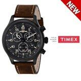 ซื้อ Timex T49905 Men S Expedition Rugged Field Chronograph Brown Leather Strap Watch Brown Intl ถูก