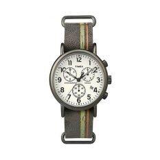 Timex นาฬิกาข้อมือผู้ชาย รุ่น Weekender Chronograph Slip Thru Brown Strap Watch Tw2P78000 สีน้ำตาล ใน ไทย
