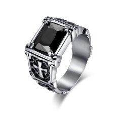 ส่วนลด ไทเทเนียมสตีลคลาสสิกพังก์วินเทจกับแหวนหินสีดำขนาดใหญ่แหวน Anillos สำหรับผู้ชาย Unbranded Generic จีน