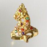 ราคา แหวนพญานาคสีทอง พลอยนพเก้า เสริมบารมีแก่ผู้ครอบครอง Tk 215 เป็นต้นฉบับ