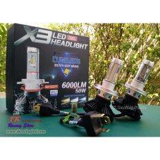 ซื้อ Tk Racing ไฟหน้ารถยนต์ Led รุ่น X3 ขั้ว H4 สว่างสุด 6000 Lm แสงสีขาว 6500K Thailand