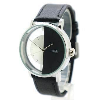 TOMI (2 Face) นาฬิกาข้อมือผู้ชาย-ผู้หญิงและเด็ก สายหนัง ทรงกลม หน้าปัด/2 Face ระบบเข็ม