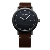 ขาย Tomi Brand Diamond Leather Quartz Watch Deep Brown Band Black Dial Intl ถูก