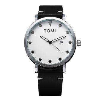 TOMI Fashion Casual Men 's Rounded Bussines Retro Design Leather Band Watch - intl-