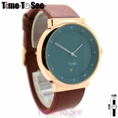Tomi (point) นาฬิกาข้อมือผู้ชาย-ผู้หญิงและเด็ก สายหนัง ทรงกลม ระบบเข็ม By Time To See.