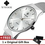 ราคา Top Luxury Brand Wwoor Men S Watches Stainless Steel Band Display Quartz Men Wrist Watch Ultra Thin Dial Clock Fashion Watch White Intl เป็นต้นฉบับ Wwoor
