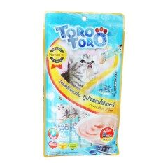 Toro Toro โทโร โทโร่ ขนมครีมแมวเลีย ทูน่าผสมไฟเบอร์ (15 g. x 5 ซอง) สีน้ำเงิน 1 แพ็ค
