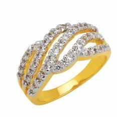 ราคา Trendy Diamond แหวนเพชร Cz ฝังจิกไข่ปลา 45 เม็ดขนาดเพชร 1 6 มม หุ้มทองแท้ Gold ใหม่