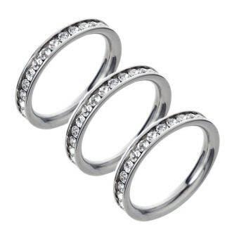 Trendy Gems แหวนประดับเพชร CZ - สีเงิน แพค 3 วงราคาพิเศษ-