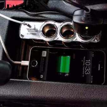 ราคา อุปกรณ์ขยายช่องจุดบุหรี่ Triple Socket 3 ช่อง + 1 USB – สีดำ
