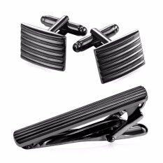 ราคา U7 Classic Gold Platinum Black Gun Plated Tie Clip Cufflinks Set For Men Fashion Jewelry Wedding Business Accessories Set Perfect Party Birthday Gift Punk Style 3 Colors Intl U7 เป็นต้นฉบับ