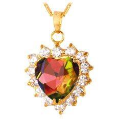 U7 Heart Zircon 18K Gold Plated Pendant Necklace Multicolor ใหม่ล่าสุด