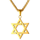 U7 Jewish Jewelry Magen Star Of David Pendant Necklace Women Men Chain 18K Gold Plated Israel Necklace Gold Intl ใน จีน