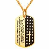 ขาย U7 New Inspirational Jewelry Cross Letter Pendant Necklace Gold Plated Stainless Steel Rope Chain Dog Tags Lord Prayer For Women Men Gold Silver Intl U7
