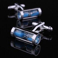 ที่ไม่ซ้ำกัน Rare Mens ชุดกระดุมข้อมือลายนาฬิกาทรายสำหรับเสื้อทำงาน Party Blue - Intl.