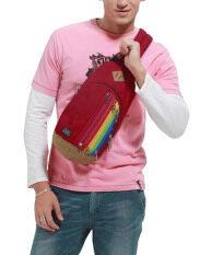ราคา Unisex Multipurpose Rainbow Zipper Casual Sport Travel Shoulder Cross Body Bag Sling Messenger Backpack Rucksack For Men Women Hiking Gym Chest Pack Pouch Bag Deep Red ใหม่
