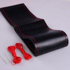 โปรโมชั่น Universal Car Steering Wheel Leather Stitch On Wrap Size 38Cm Red And Black Intl Unbranded Generic ใหม่ล่าสุด