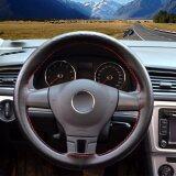 ขาย ซื้อ Universal Genuine Leather Car Steering Wheel Cover Stitching Flame Pattern Style Size S Black Intl ใน จีน