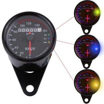 Justgogo Universal รถจักรยานยนต์วัดระยะทางวัดความเร็วกับ LED Backlight (สีดำ)