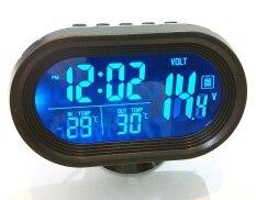 โปรโมชั่น Unlimit 3 In 1 ที่วัดโวลท์ วัดอุณหภูมิภายใน และนอกรถ นาฬิกา ไฟสีส้ม และฟ้า พื้นหลังดำ ทรงแคปซูล Black ถูก