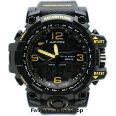 ขาย Us Submarine นาฬิกาข้อมือผู้ชาย 2 ระบบ Quartz Digital กันนํ้า สายยางสีดำ Us Submarine ออนไลน์